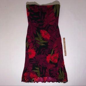 Cache floral strapless dress